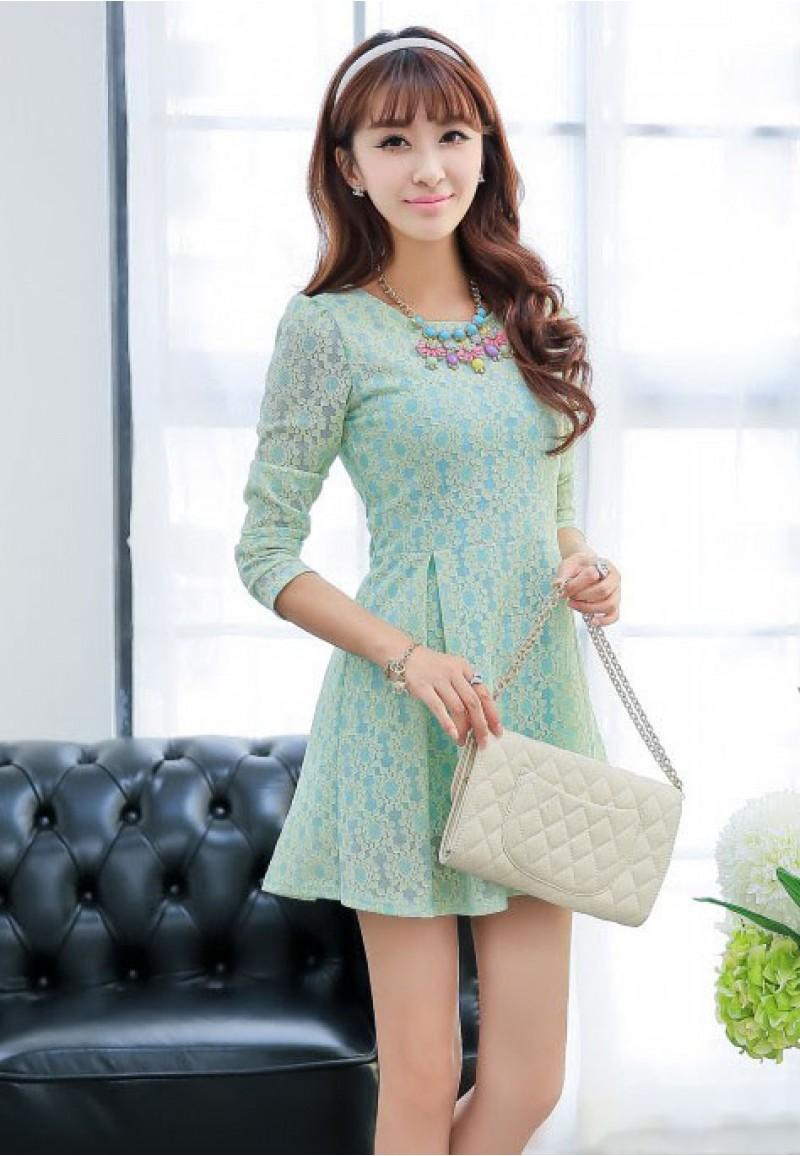 model mini dress untuk tubuh kecil hijau tosca